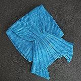 ledmart manta de cola de sirena, sirena Crochet Tejer manta, mejor cumpleaños regalo de Navidad manta hecha a mano Salón dormir manta, azul, adulto