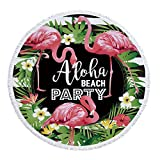 Stillshine Rundes Strandtuch mit Quaste Tropischer Ananas Flamingo Drucken Microfiber 150cm für Schwimmen-Bad-Picknick-Wand-Tapisserie-Decke-Badetuch (Muster 7)