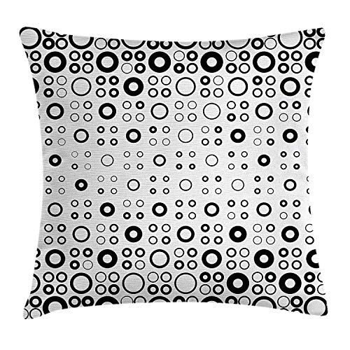 Geometric Circle Decor Throw Pillow Cushion Cover, Simple Vortex Disc Shaped Interior Ellipse Chord Lines Artwork, Decorative Square Accent Pillow Case, 18 X 18 Inches, Black White Vortex Case Cover