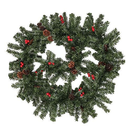Weihnachtsgirlande Tannengirlande 270CM Girlande Weihnachten Dekoriert Grün Künstlich Geschmückt Tannen Girlande mit Roter Beeren Zapfen Weihnachtsdeko Schöne Dekorationen für Kamine Treppen Wand