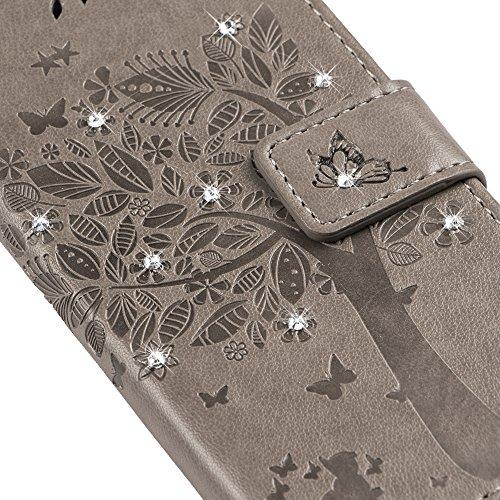 iPhone se case, iPhone 55S case, Newstars iPhone se glitter trasparente duro di lusso 3D creative liquido Diamond glitter custodia per iPhone se 5S, scorre Quicksands Bling glitter Sparkle duro custo V Diamond Tree 7