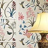 YJZ Vlies Vintage Blumen Vogel Tapete Floral Wand Papier Wandbild Für Wohnzimmer Schlafzimmer Küche Bad, Multicolor,White