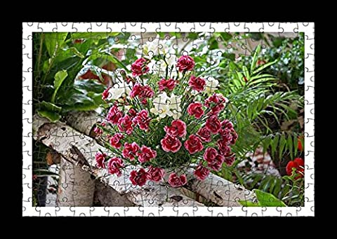 Puzzle Style (Pre-assembled) Wall Print of Carnation Flowers Bouquets Composition Birch Herbs Beauty by Lisa Loft