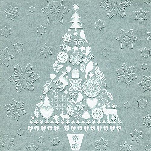 Tovaglioli da tavola in rilievo dell' albero di Natale argento