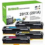 Aztech 4 Pack Kompatibel für HP 201X CF400X-CF403X Set HP 201A CF400A Toner für HP Color Laserjet Pro MFP M277DW M277N M277 DW M 277DW M274N M252DW M252N M252 Druckerpatrone
