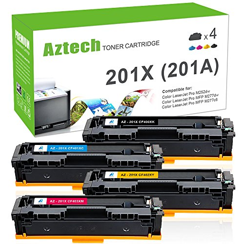 Aztech 4 Pack Kompatibel für HP 201X Multipack 201A CF400A CF400X CF401X CF402X CF403X Toner für HP Color Laserjet Pro MFP M277dw M277n M252dw Toner HP M252n M252dw M277n M274n MFP M277c6 Toner -