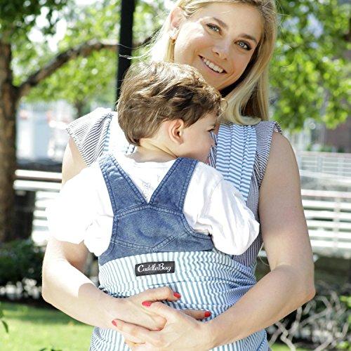 Babytragetuch – CuddleBug Babytrage – mit Gratisversand – Baby Carrier Sling – tragetuch baby (blauer Streifen)