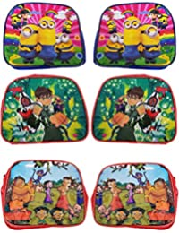 Cartoon Printed Sling Bags Pack Of 6 / Kids Bags For School Use