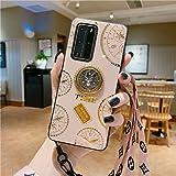 NiaCoCo Compatibel met Huawei P30 Pro Case +1* Screen Protector, Set met diamants360 graden rotatie Ring houder Anti-Vingeraf