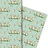 Kartenkaufrausch Süßes Vintage Baby Geschenkpapier Set 4 Bogen mit musizierenden Retro Hasen zu Ostern Geburt Geburtstag • tolle Geschenk Verpackung zur Hochzeit Weihnachten 32 x 48cm hellblau