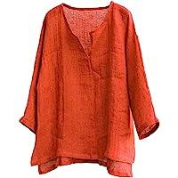 ITISME Camicia Casual Uomo Manica Lunga Coreana Tinta Unita Scollo a V Cotone e Lino Sciolto Comodo Camicia Uomo Manica…