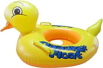 AKSHAJ Kid's PVC Inflatable Kiddie Swim Pool Water Float Ring Tube with Handles Boat, 0-3 Years (Yellow, AKJ-BOPB)