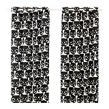 IKEA Paar Gardinen Set von 2Schwarz Katzen Gesichter auf weiß 144,8cm von 248,9cm –-mattram