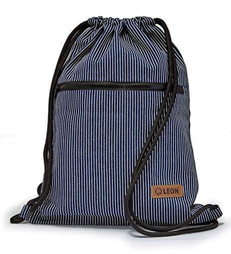 By-Bers LEON Tasche Turnbeutel Rucksack Sportbeutel Gym Bag Gymsack Hipster Fashion (linie/dklblau_Zipper2) - Linien Hipster