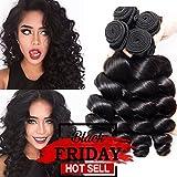 Musi Brazilian Virgin Hair Loose Wave 3 Bundles Brazilian Remy Human Virgin Hair Extensions Loose Wave Human Hair Weave Bundles Natural Color 300g (12 14 16 Inch)