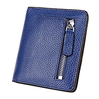 S-ZONE Women's Small Compact Genuine Leather Bi-fold Pebble RFID Blocking Wallet Bifold with Coin Holder and Picture ID Window Purse Pocket Wallet (Blue-Gift Box)