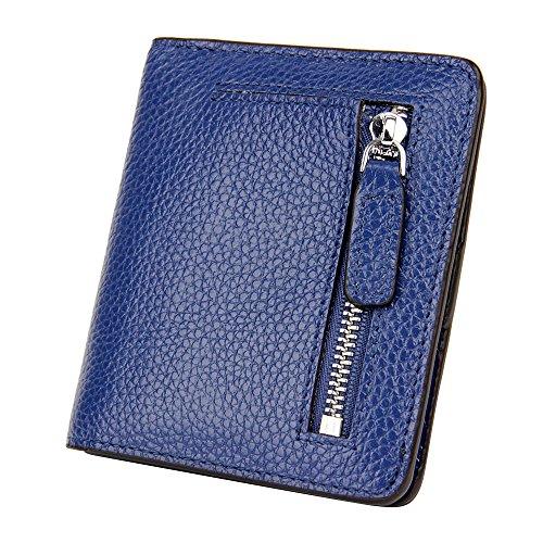 S-ZONE Damen Weich Rindsleder klein Compact Geldbörse Portemonnaie mit Reißverschluss Pocket ID Window