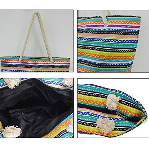 Mega djb1021-09Q, Borsa a spalla donna Black Stripe taglia unica Colorful Stripe