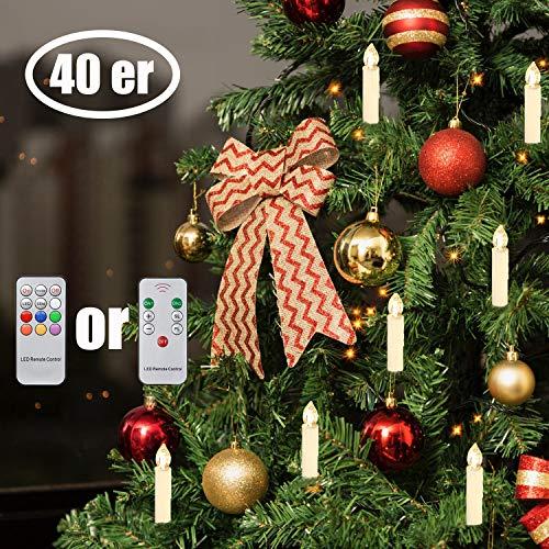 LED Weihnachtsbaumkerzen Kabellos Warmweiß Christbaumkerzen Mini mit Fernbedienung (40x)