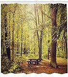 ABAKUHAUS Wald Duschvorhang, Natur Ruhe Frieden, aus Stoff inkl.12 Haken Digitaldruck Farbfest Langhaltig Bakterie Resistent, 175 x 180 cm, Grün-Braunen