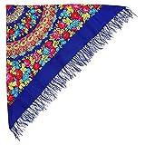Schöner Blauer Großer Schal Tuch (Umschlagtuch) mit Rosen Blumenmuster und Fransen im russischen Stil