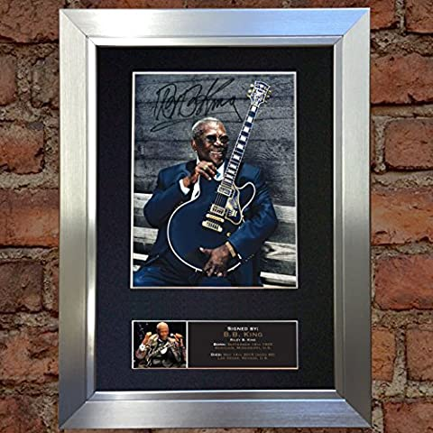 BB KING signed autograph framed photo repro A4 print 565 [SILVER FRAME]