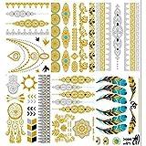 Tatouages Temporaires Métalliques Premium, KALLOE 75+ Or et Argent Mandala Mehndi Boho Designs Autocollant Imperméable Flash Bijoux Tatouages pour Femmes Ados Filles