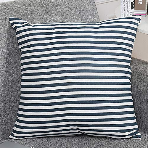 FeiliandaJJ Kissenbezug Streifen Einfachheit, Kissenhülle Kopfkissenbezug Pillowcase Super Weich Sofakissen für Wohnzimmer Sofa Bed Home Dekoration,45x45cm (Blau) - Dekorative Kissen Grau Blau