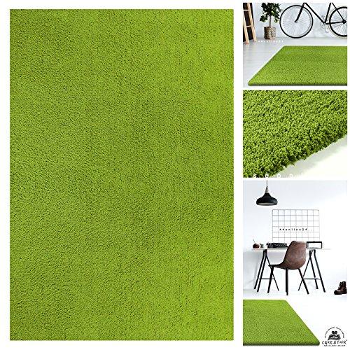 Handgefertigter Extrem Weicher Handtuft Teppich Einfarbig in Apfel-Grün | Hochwertige Oeko-Tex Teppiche geeignet auch als Kinderteppiche und Babyteppiche | Flauschiger Uni Hochflor Shaggy Läufer, Größe:120x170 cm