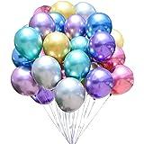 Micacorn Luftballons Metallic, 50 Stück Glänzendes Luftballons, Latexballons Partyballon Ballons Metallic für Geburtstagsdeko