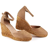 VISCATA Palamos Elegant Comfort, Soft Suede, Ankle-Strap, Closed Toe, Espadrilles with 3-inch Heel Made in Spain