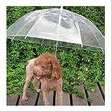 Sotoboo Regenschirm für Haustiere (Hunde/Katzen Regenschirm) Hundeleine Leine–Transparent Wasserdicht Pet Umbrella-Umbrella für Trockene spaziergängen im Regen Schnee