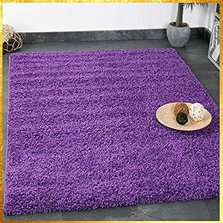 VIMODA Prime Shaggy Teppich Lila Hochflor Langflor Teppiche Modern Für Wohnzimmer  Schlafzimmer Einfarbig 120x170 Cm