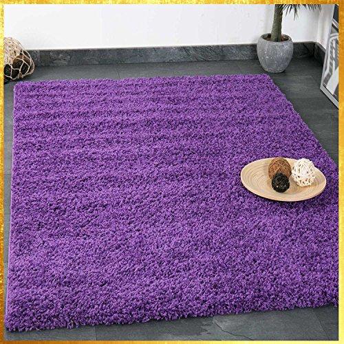 VIMODA Prime Shaggy Teppich Lila Hochflor Langflor Teppiche Modern für Wohnzimmer Schlafzimmer Einfarbig, Maße:70x140 cm (12 12 X Teppiche)