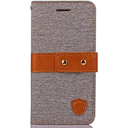 iPhone Case Cover Weiche TPU Abdeckungs-Cowboy-Jeans PU-lederner Fall mit mittlerem Verschluss mischte Farben-Mappen-Standplatz-Fall für iPhone 7 Plus ( Color : Blue , Size : IPhone 7 Plus ) Gray