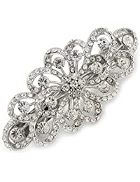 Novia Prom plateado filigrana de diamante floral pasador Clip Grip–80mm across
