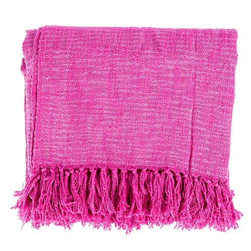 Homescapes Nirvana 100%  Baumwolle Scatter Kissen und Überwürfe, Rosa,  150 x 200cm