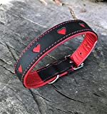 Harrington Marley Hundehalsband, handgefertigt, weiches Leder, gepolstert, stabil, mit Herzdesign und Messingschnalle, Pink/Schwarz