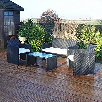 Kingfisher FSR 4 Piece Black Rattan Effect Garden Patio Furniture Set