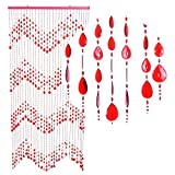 HAB & GUT -DV0173- Türvorhang KLUNKER, ROT, 90 x 200 cm Perlenvorhang