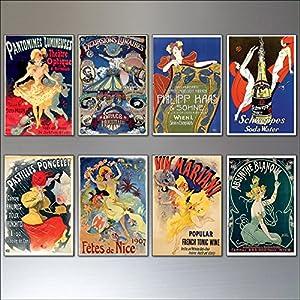 Ein Satz von 8 Vintage Französisch Kunst Nouveau böhmischen Poster Drucke Kühlschrankmagnete No.2