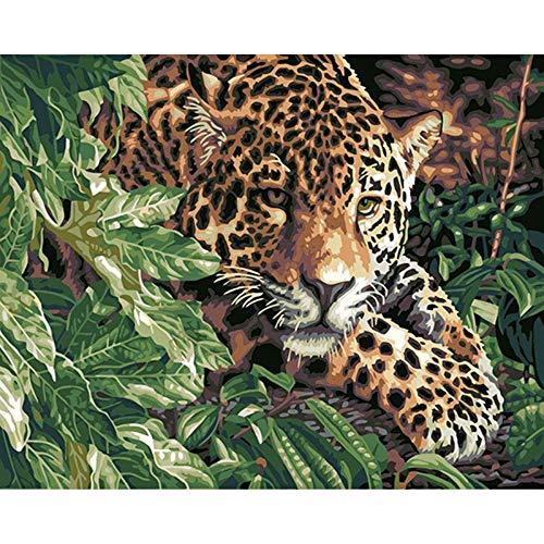 zlhcich : Landschaft Ölgemälde Dekoration 217 versteckt Baum Leopard 40x50cm ohne Rahmen