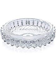 Xinmin Crystal Quality Glass Ash Tray   Round Tabletop   Glass Ashtray   Smoke Collectible Tribal Decoration- 11.9 cm, 260 g (Medium)