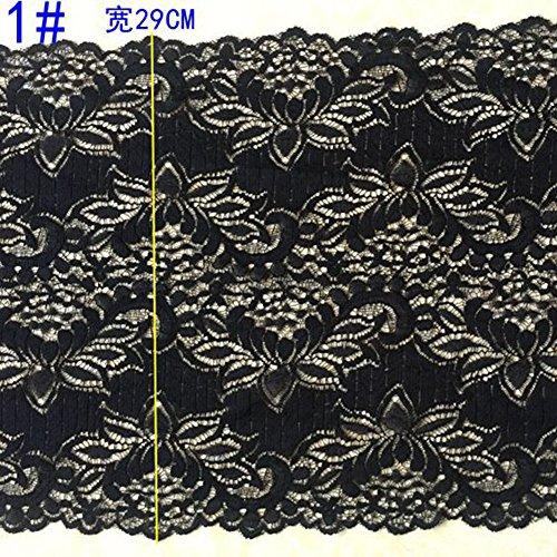 Schwarz 3Meter Grace bestickter Stretch Spitze Rand Trim Craft BH Dekoration 27,9cm breit - Spitze Stoff Trim Doll