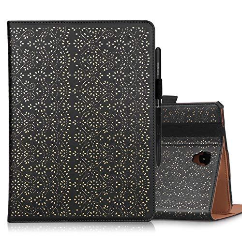 WWW Samsung Galaxy Tab S4(26,7cm) Fall, [Luxus Blumen Laser] Premium PU Leder Tasche Schutz Hülle Cover mit Auto Sleep/Wake-Funktion für Samsung Galaxy Tab S4(2018) Schwarz Schwarz