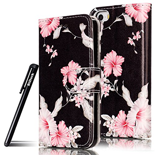 Custodia Cover per iPhone SE Blu Fiore,Flip Cover iPhone 5S a Libro,BtDuck Ultra Sottile Elegante PU Pelle Borsa e Portafoglio Tasca Libro Stand Bumper Case Morbido Silicon Back Case Full Body Flip Co iPhone SE/5S/5 - Rosa Fiore