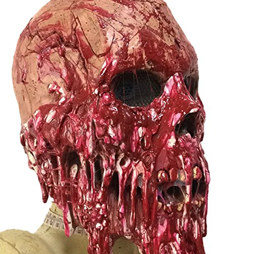 Ruikey bloody skull mask halloween costume party maschera horror in lattice zombie mummy maschera intera copricapo puntelli per adulti cosplay