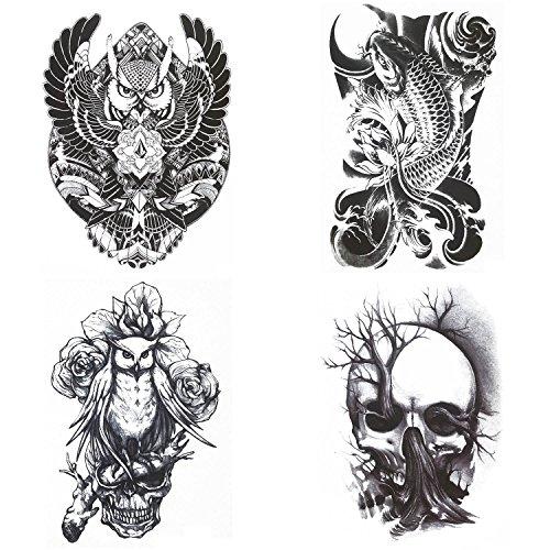 COKOHAPPY Groß Tinte Temporäre Tattoo 4 Verschiedene Blätter Koi Fisch Schädel Baum Krieger Eule (Halloween Frauen Kostüm Fisch)
