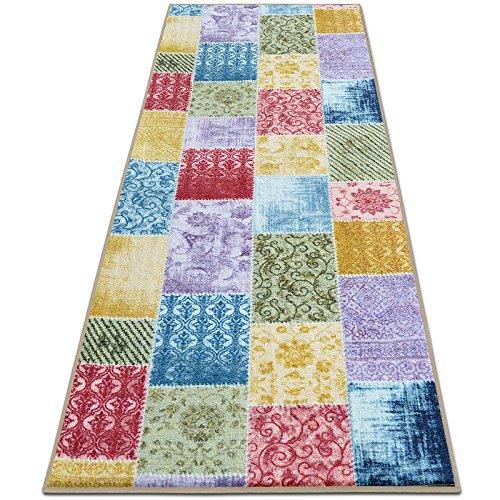 Teppichläufer Laviano | Patchwork Muster im Vintage Look | viele Größen | moderner Teppich Läufer für Flur, Küche, Schlafzimmer | Niederflor Flurläufer, Küchenläufer | Breite 80 cm x Länge 400 cm