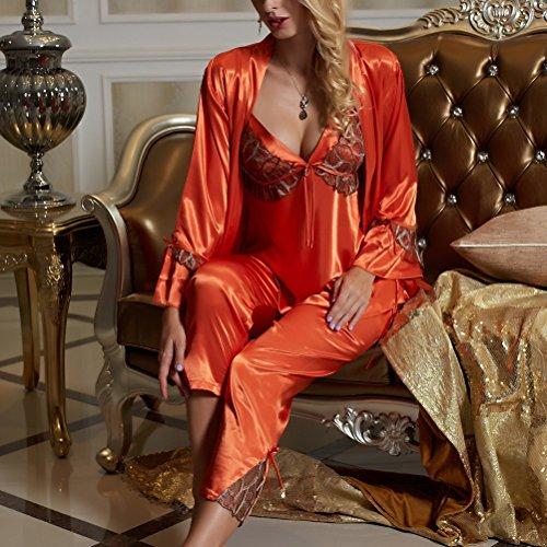 Amybria donne di alta qualità Blend pizzo a maniche lunghe, da 3 pezzi in seta pigiami/Set vestito da matrimonio, 3 colori Arancione